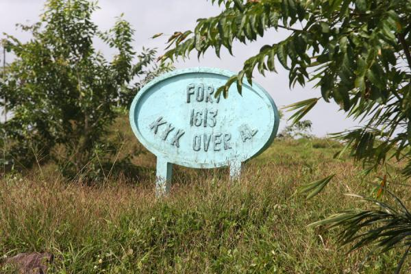 Sign of Fort Kyk over Al with wrong date | Fort Kyk over Al | Guyana
