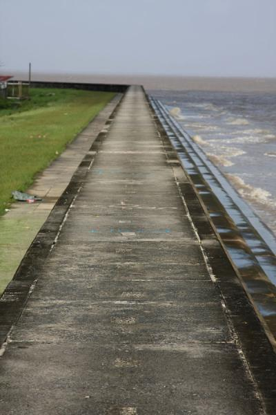The Georgetown seawall closely follows the coastline | Georgetown seawall | Guyana