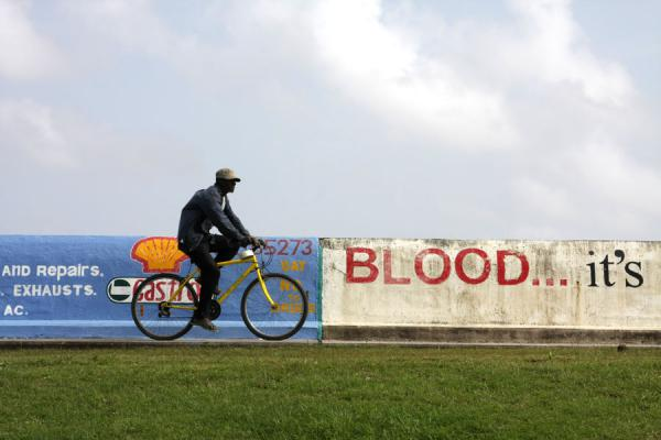 Picture of The Georgetown seawall is popular for cyclists - Guyana - Americas