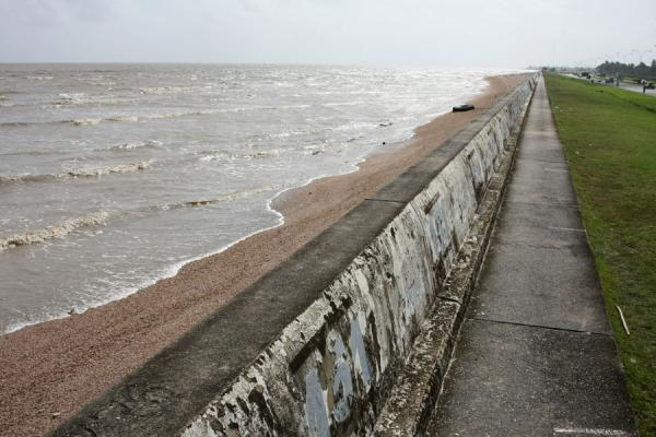 Picture of Georgetown seawall (Guyana): The Atlantic Ocean reaching just to the seawall