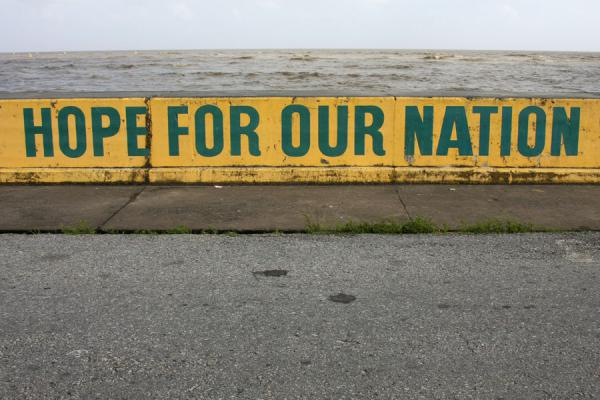 Picture of The seawall at Georgetown is used for all kinds of messages and advertisementGeorgetown - Guyana