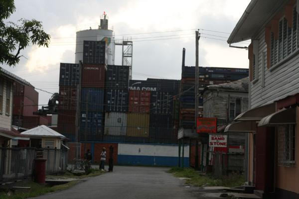 Containers and street in Georgetown | Georgetown | Guyana