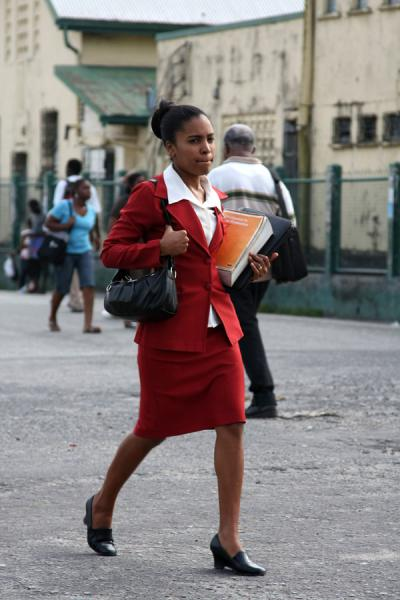 Elegantly dressed woman near Stabroek market in Georgetown | Guyanese people | Guyana