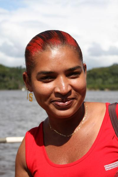 Picture of Guyanese girl on a ferry on the Essequibo river