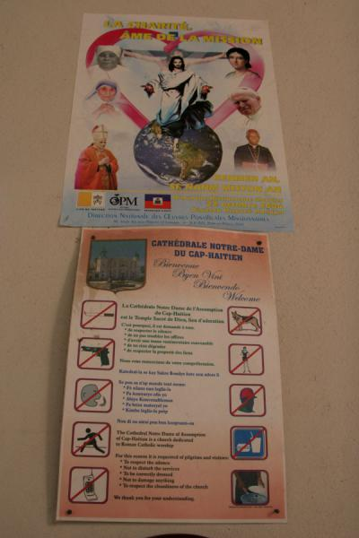 Instructions for visitors of Cap-Haïtien cathedral | Cap-Haïtien cathedral | Haiti
