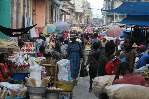Picture of Crowded street near the market of Cap HaïtienCap Haïtien - Haiti