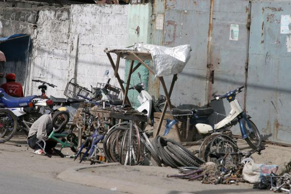 Picture of Cap Haïtien street sellers (Haiti): Bicycle shop at the roadside of Cap Haïtien