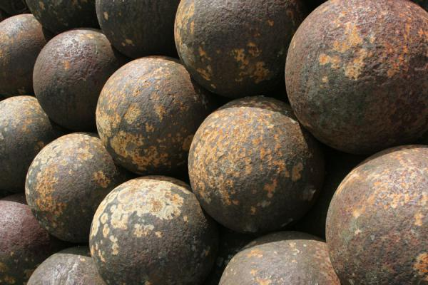 Picture of Citadelle La Ferrière (Haiti): Close-up of cannonballs of Citadelle la Ferrière