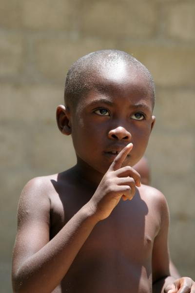 Picture of Haitian boy getting his point across