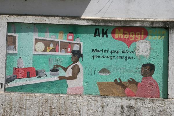 Picture of Haitian signs (Haiti): Advertisement as a mural in Cap Haïtien