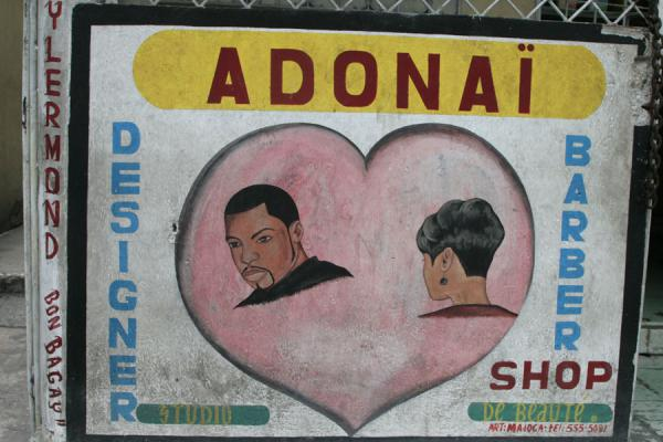 Picture of Haitian signs (Haiti): Barber shop in Port-au-Prince