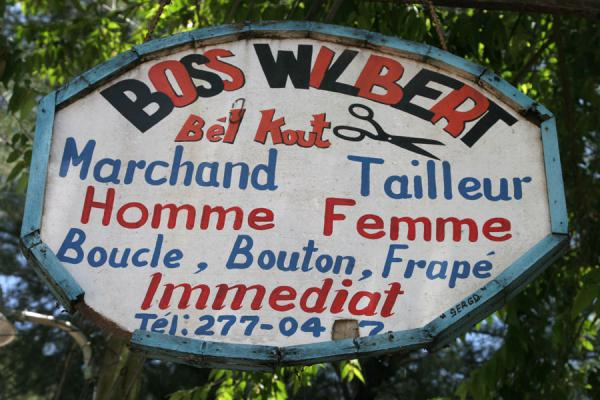 Picture of Haitian signs (Haiti): Tailor Boss Wilbert in Hinche advertising in a tree