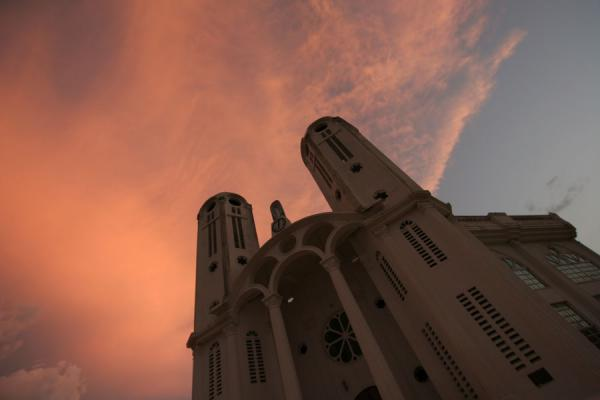 Picture of Hinche (Haiti): New cathedral of Hinche at sunset
