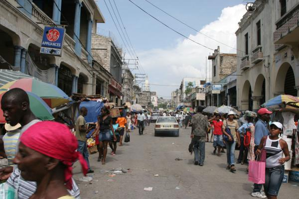 Picture of One of the streets of Port-au-Prince: not much traffic, lots of peoplePort-au-Prince - Haiti