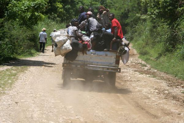 Picture of Tap-taps (Haiti): Overloaded tap-tap on the way to Hinche