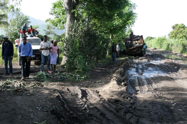Picture of Tap-taps (Haiti): Stuck truck on a muddy road in the interior of Haiti