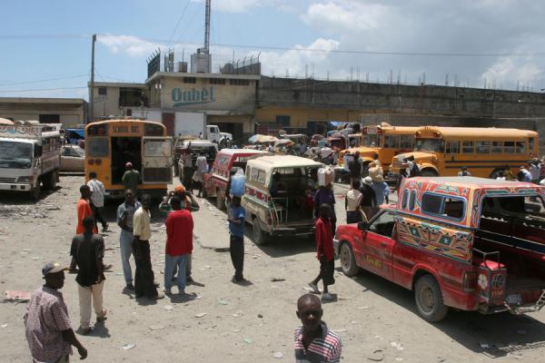 Picture of Tap-taps (Haiti): View from a roof: bus station of Cap Haïtien