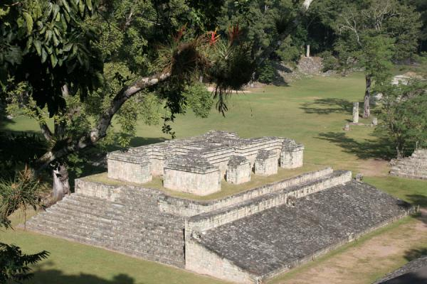 Structure 9 and part of the Great Plaza and Ball Court, Copán | Copán | Honduras