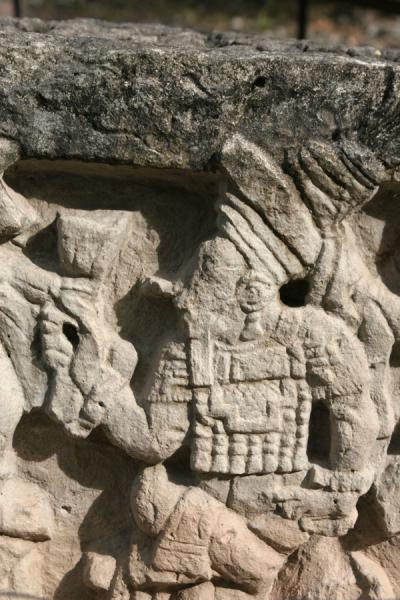 Picture of Copán: detail of altar Q with one of the rulers of the Maya empire