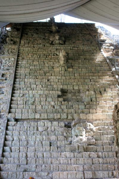 Picture of Copán (Honduras): Copán: he Hieroglyphic Stairway, telling Copán's story in stone