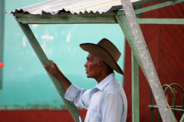 Man with hat or sombrero in the street, Northern Honduras | Honduran People | Honduras