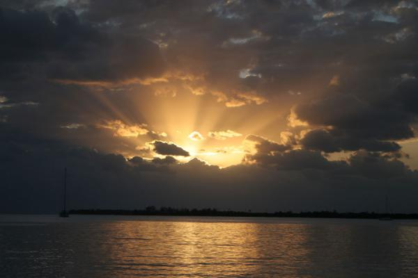Picture of Honduras (Utila: sunset over sea)