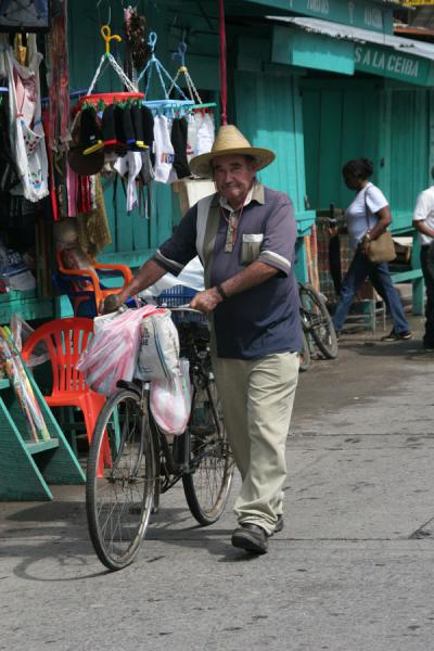 Picture of La Ceiba: walking with bike in the market area