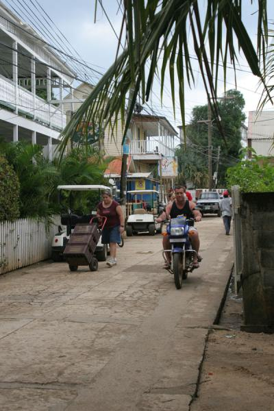 Picture of Utila: streetscene in one of the few streets of the town - Honduras - Americas