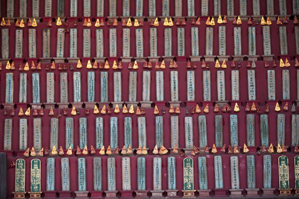 Picture of Lung Yeuk Tau Heritage Trail (Hong Kong): Close-up of display in the Tang Chung Ling ancestral hall