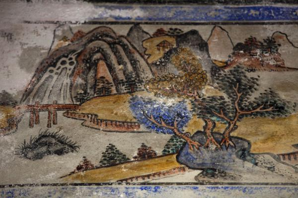 Picture of Lung Yeuk Tau Heritage Trail (Hong Kong): Landscape painted above the entrance to Sin Shut Study Hall