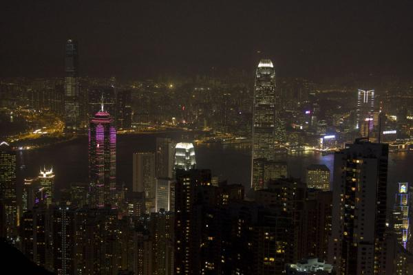 Foto van Hong Kong skyline at nightVictoria Peak - Hong Kong