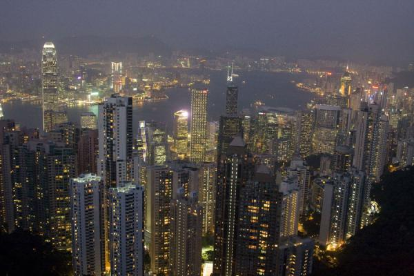 Dusk falling over Hong Kong harbour | Victoria Peak | Hong Kong