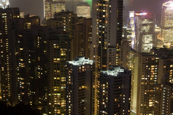 Close-up of apartment blocks seen from Victoria Peak | Victoria Peak | Hong Kong