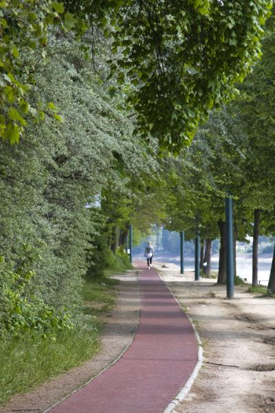 Jogging the running track around Margaret Island | Margit eiland | Hongarije