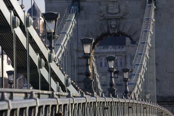 Picture of Lateral view of Széchenyi chain bridge with lanterns and cables - Hungary - Europe