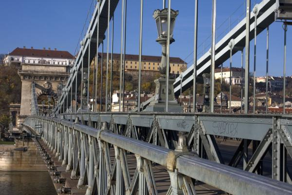 Part of Széchenyi chain bridge with Buda in the background | Széchenyi Chain Bridge | Hungary