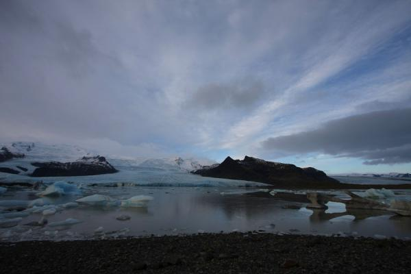 Picture of Iceland (Cloudy sky over Fjallsárlón with glaciers and icebergs)