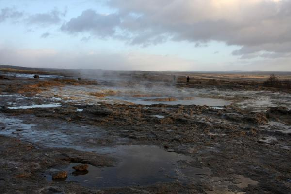 Picture of View of the Strokkur geysir in a flat landscapeGeysir - Iceland