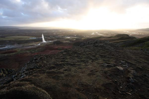 Picture of View over the Geysir area from an adjacent hilltopGeysir - Iceland