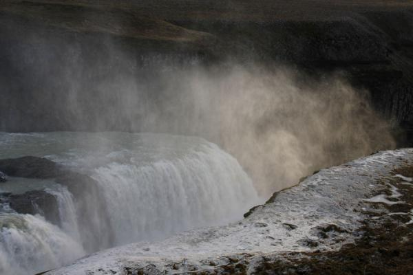 Picture of Gullfoss (Iceland): Final drop of Gullfoss, with fog freezing to the earth