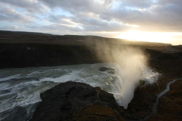 Picture of Gullfoss (Iceland): Permanent cloud hanging over Gullfoss