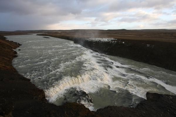 Picture of Gullfoss (Iceland): View over Gullfoss from above: first cascade