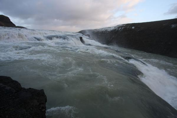 Picture of Water of Hvítá river coming down the first cascade and running to the second