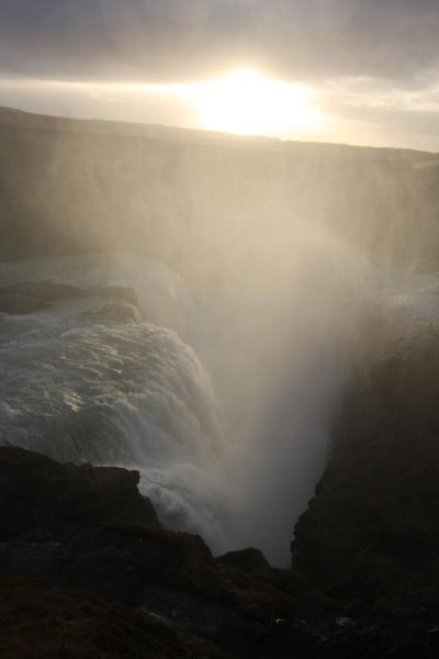 Picture of Gullfoss (Iceland): Fog of Gullfoss with sunlight shining through