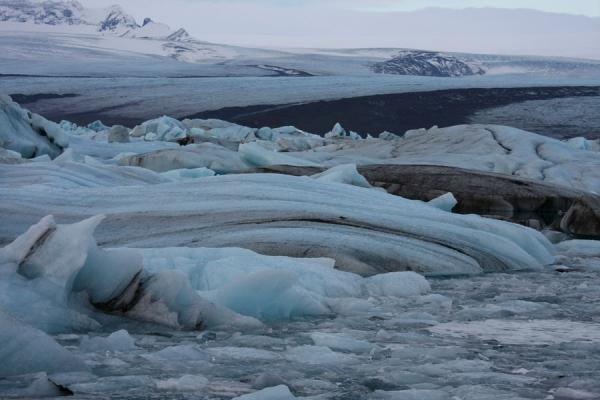 Picture of Jökulsárlón Glacier Lagoon (Iceland): Ice formations in Jökulsárlón with Breiðamerkurjökull in the background