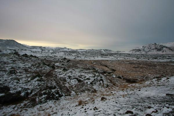 Lava fields under a thin layer of snow in northern Snæfellsnes | Snæfellsnes | Iceland