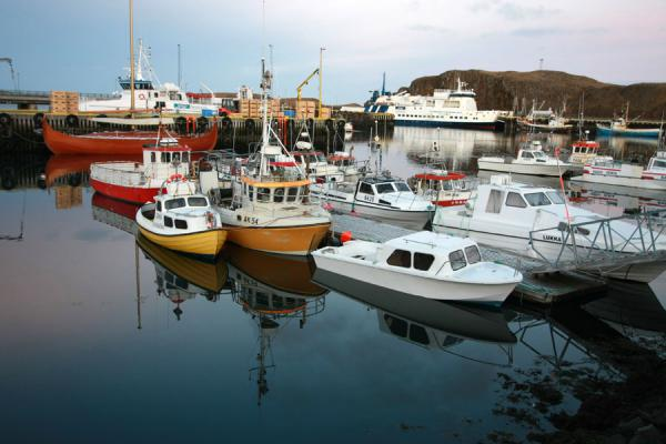 Foto van Boats in the harbour of StykkishólmurSnæfellsnes - IJsland