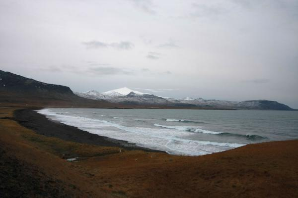 Foto van Black beach and snow-capped Snæfellsjökull volcano in the backgroundSnæfellsnes - IJsland