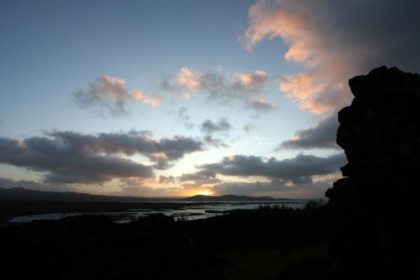 Picture of Þingvellir (Iceland): Sun colouring the sky pink in the Þingvellir area