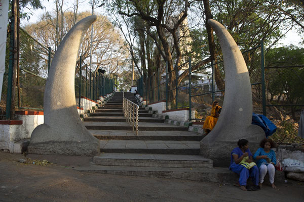 Picture of Two horns at the entrance way to the Bull Temple - India - Asia